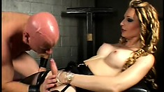 Busty blonde tranny has a guy sucking her dick and fucking her tight ass