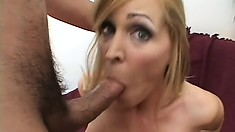 Stacked blonde milf Nicole Moore loves to get fucked by a young stud