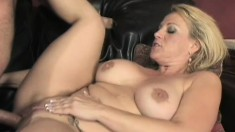 Voluptuous blonde cougar surrenders her needy snatch to a young stud