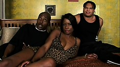 Ebony ho with a tight booty gets sandwiched by a pair of homies